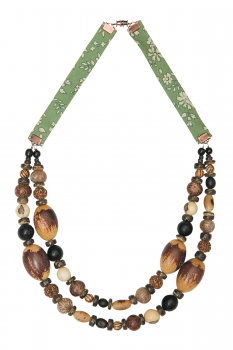 #CDOUMIM - Collier modèle DOUBLE MIX MARRON